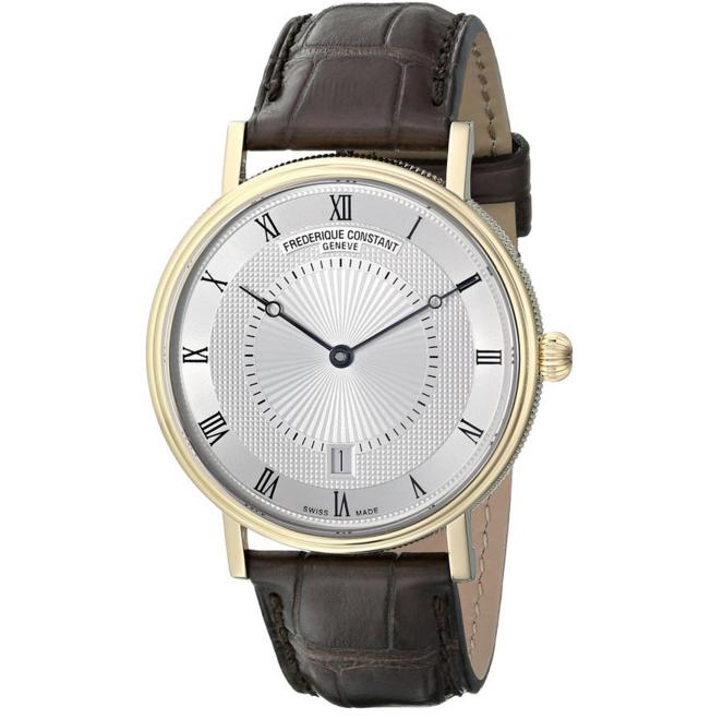 Frederique Constant Men's FC306MC4S35 Slim Line Gold-Tone Stainless Steel Watch with Brown Leather Band