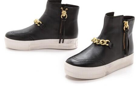 Ash Jackie Chain-Trimmed Leather Platform High Top Sneakers @ Saks Off 5th