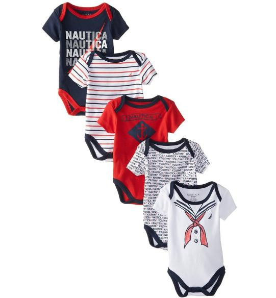 Nautica Baby Boys' Newborn Five-Pack Bodysuits