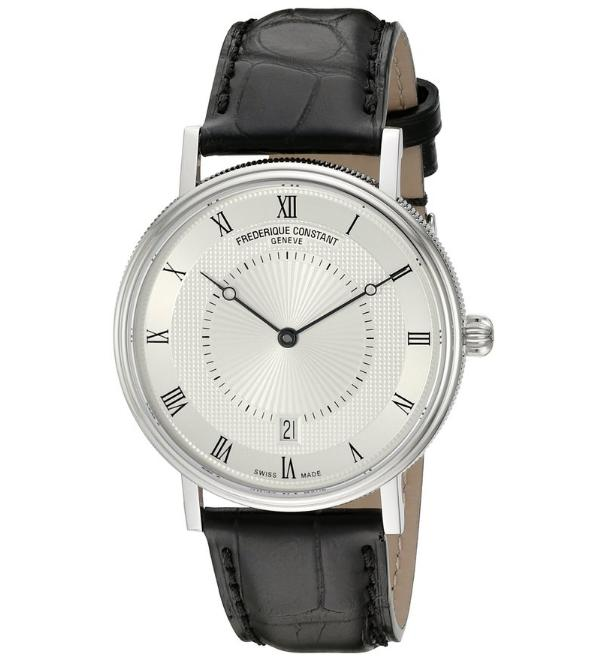 Lowest price! Frederique Constant Men's FC306MC4S36 Slim Line Stainless Steel Watch with Black Leather Band
