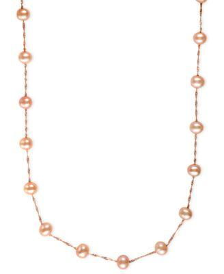 EFFY Cultured Freshwater Pearl Station Necklace in 14k Gold (5-1/2mm)