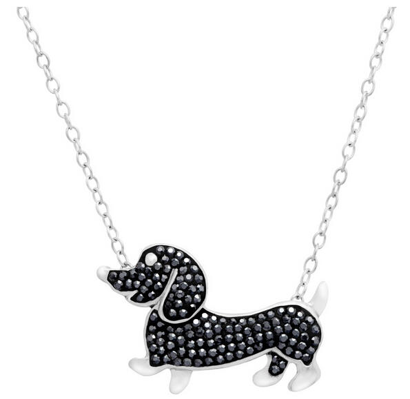 Dachshund Necklace with Jet Swarovski Crystals