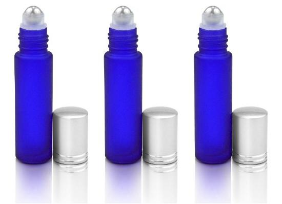 Glass Roll on Bottles Xpassion 10ml Aromatherapy Essential Oil Roller Bottles with Metal Ball & Brushed Aluminum Cap Set of 6