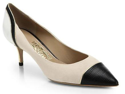 Salvatore Ferragamo Melide Colorblock Leather & Suede Cap-Toe Pumps
