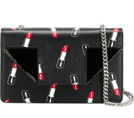 30% Off Saint Laurent Black Lipstick Printed Leather 'Betty' Chain Shoulder Bag @ Bluefly