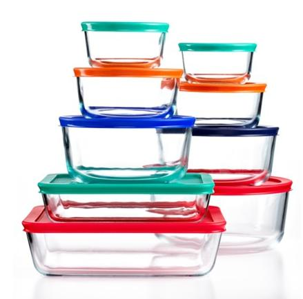 $17.99 Pyrex 18 Piece Simply Store Set with Colored Lids