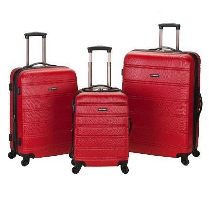 $97.81 Rockland Luggage Melbourne 3 Piece Abs Luggage Set, Red, Medium