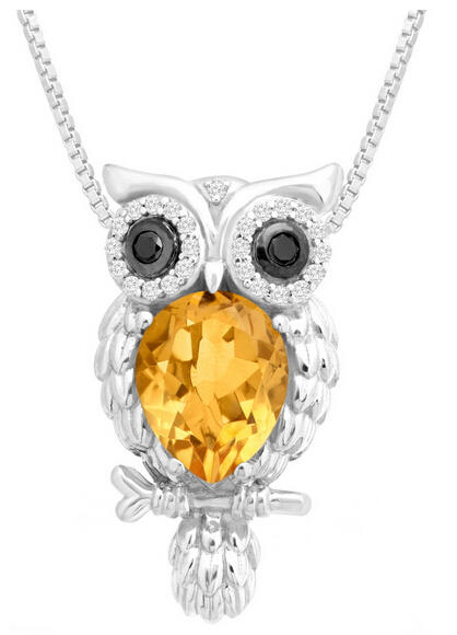 Citrine & White Topaz Owl Pendant with Black Diamonds