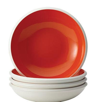 Rachael Ray® Rise Stoneware Orange Set of 4 Soup and Pasta Bowls