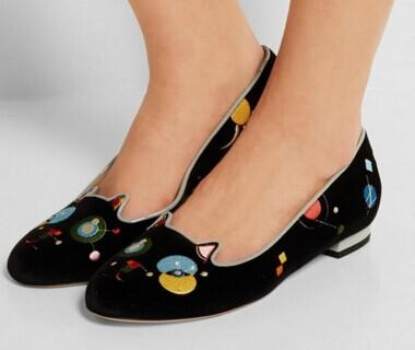 Charlotte Olympia Abstract Kitty Velvet Flat @ Bergdorf Goodman