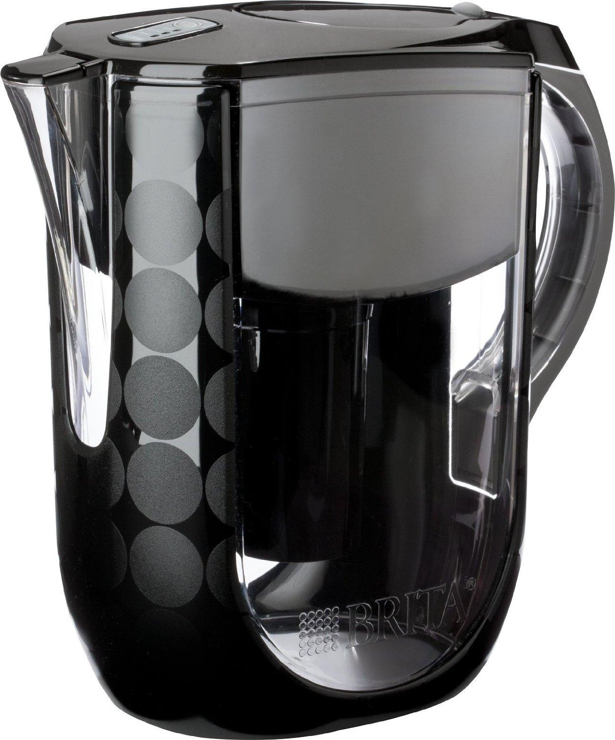 $23.86 Brita Grand Water Filter Pitcher, Black Bubbles, 10 Cup