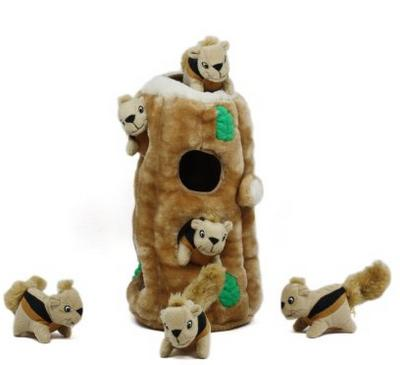Outward Hound Hide-A-Squirrel Holiday Squeaking Dog Toys, Brown