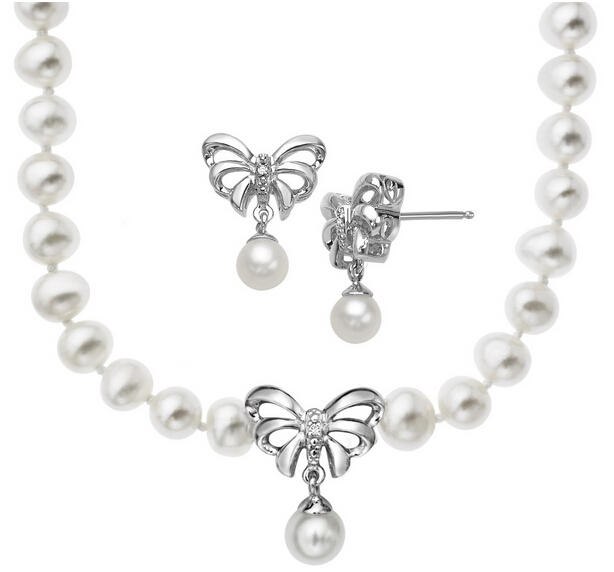 Pearl Bow Necklace & Earring Set with Diamonds
