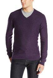 $36.98 Calvin Klein Jeans Men's Texture V-Neck Sweater, Bordeaux Heather, Small