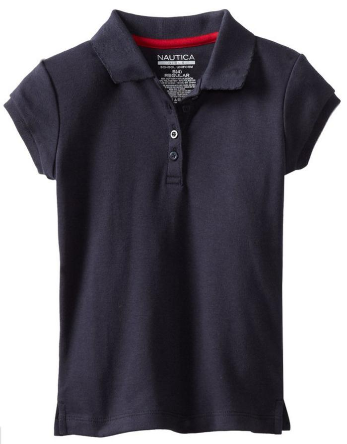 $2.86 Nautica Little Girls' Uniform Short Sleeve Interlock Polo, Navy, L(6)