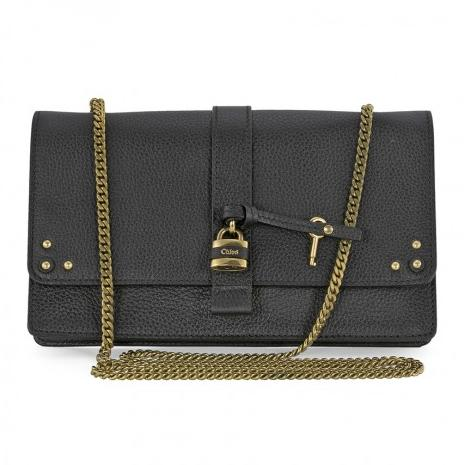 CHLOE Aurore Wallet on a Chain - Black