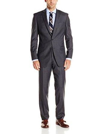 Calvin Klein Men's Check Plaid 2 Button Side Vent Slim Fit Suit at Amazon