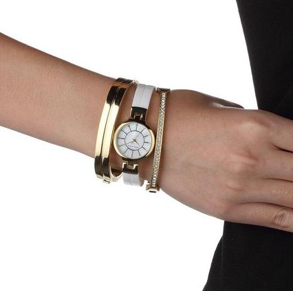 Anne Klein Women's AK/2048GBST Swarovski Crystal Accented Gold-Tone and White Ceramic Bangle Watch and Bracelet Set