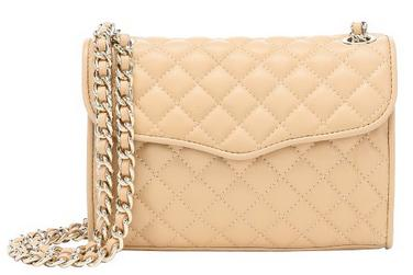 REBECCA MINKOFF Beige Diamond Quilted Leather 'Mini Affair' Shoulder Bag