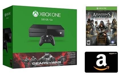 $349.00 Xbox One 500GB Console Gears of War: Ultimate Edition Bundle+$50 Amazon credit+1 free game