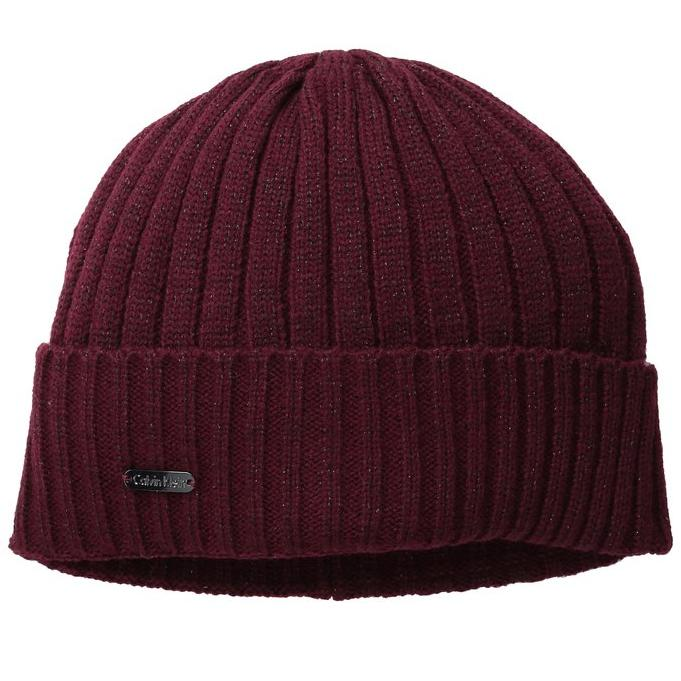 Lightning Deal Calvin Klein Women's Metallic Beanie with Cuff, Port, One Size