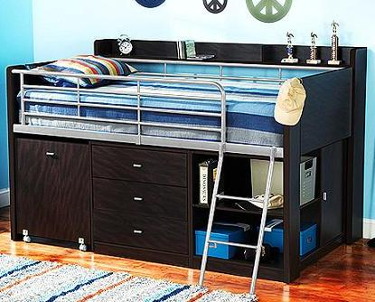 $249 Charleston Storage Loft Bed with Desk, Espresso @ Walmart