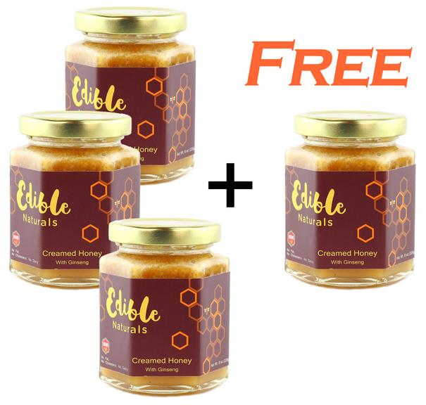Buy 3 Get 1 Free + 10% off WOHO 100% Pure Creamed Raw Honey with American Ginseng 8oz