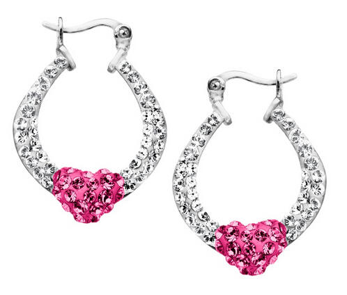 Heart Hoop Earrings with Swarovski Crystals
