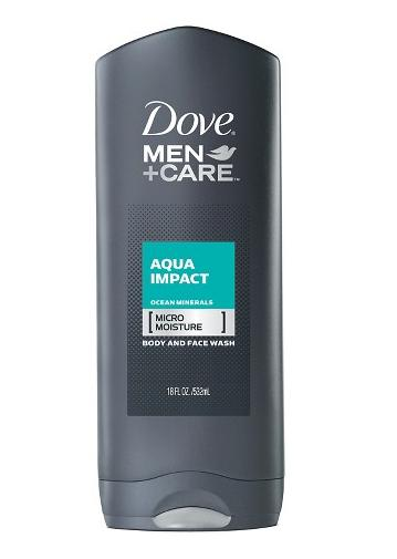 $9.49 + $5 Gift Card Dove Men+Care Aqua Impact Body Wash 18 oz 4 Count