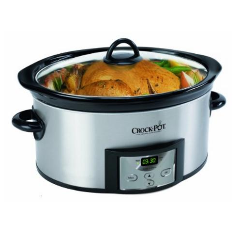 Prime Members only! Crock-Pot SCCPVC605-S 6-Quart Countdown Oval Slow Cooker with Dipper, Stainless Steel