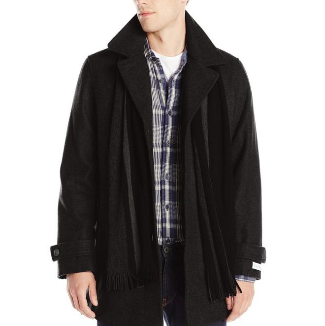 Calvin Klein Men's Wool Scarf Coat