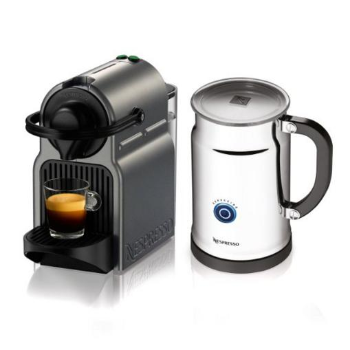 Nespresso Inissia Espresso Maker with Aeroccino Plus Milk Frother, Titan