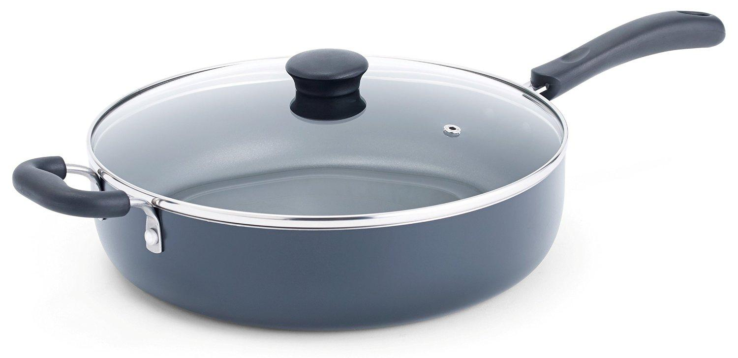 $18.86 T-fal A91082 Specialty Nonstick Dishwasher Safe Oven Safe Jumbo Cooker Saute Pan with Glass Lid