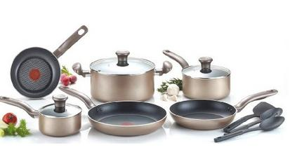 T-fal C067SC Metallics Nonstick Thermo-Spot Heat Indicator Cookware Set, 12-Piece