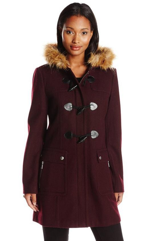 Tommy Hilfiger Women's Wool Utility Duffle Coat with Fur Trim Hood