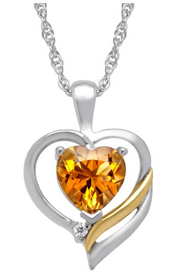 1 1/10 ct Citrine Heart Pendant