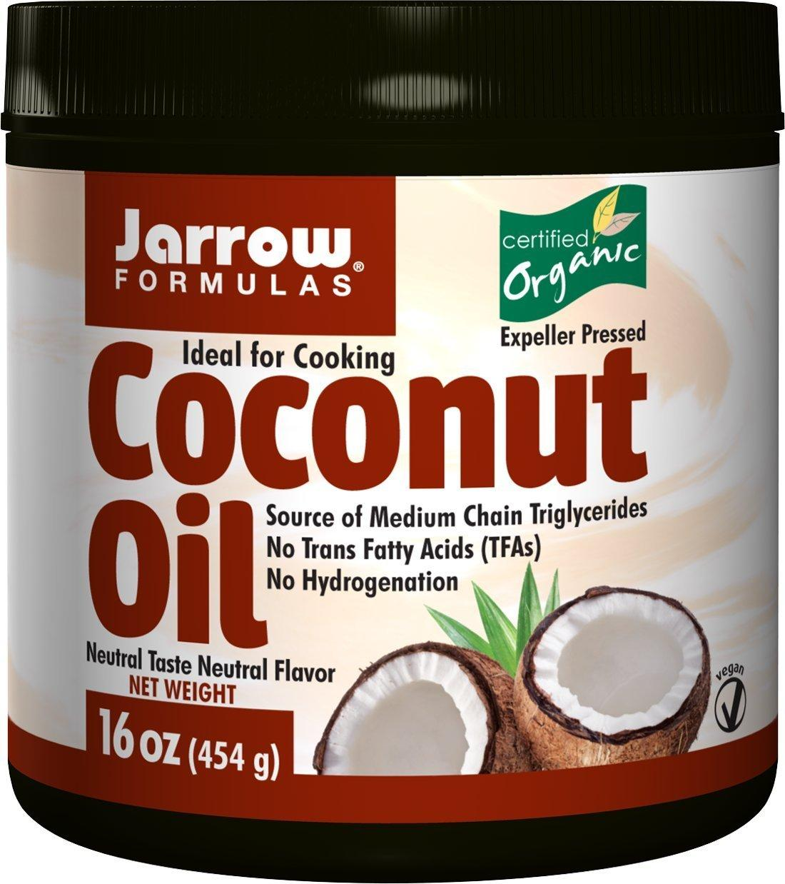 Jarrow Formulas Coconut Oil 100% Organic, 16 Ounces (Pack of 2)