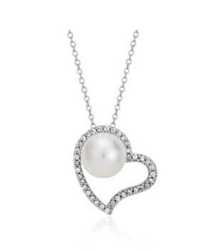 Freshwater Cultured Pearl and Diamond Heart Pendant @ Blue Nile