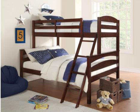 $195.8 Dorel Living Brady Twin over Full Solid Wood Kid's Bunk Bed with Ladder, Espresso