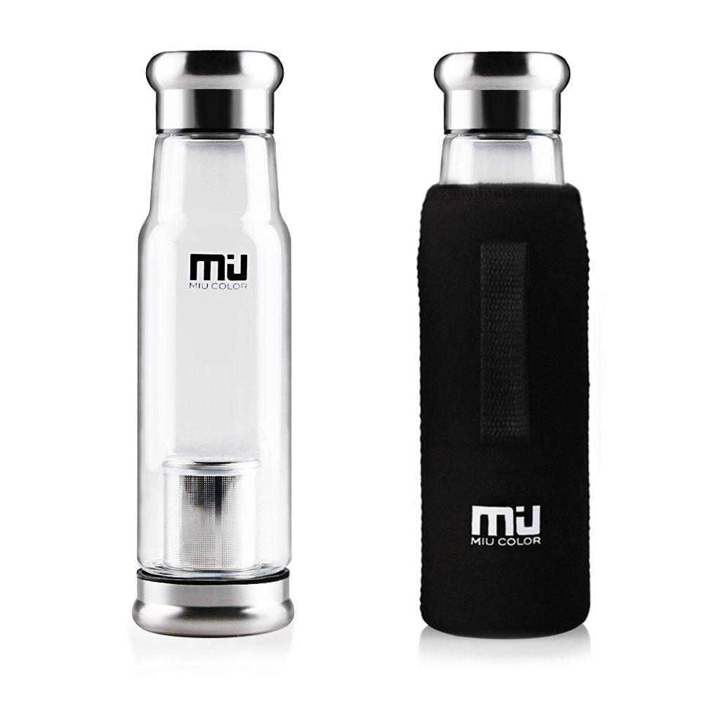 Lightning Deal MIU COLOR® Stylish Portable Handmade Crystal Glass Water Bottle with Nylon Sleeve
