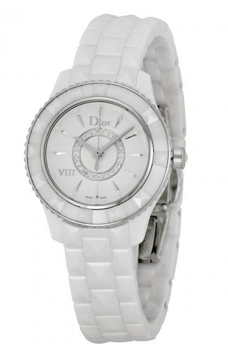 DIOR VIII Diamond Silvered Dial White Ceramic Ladies Watch CD1221E2C001 (Dealmoon Singles Day Exclusive!)