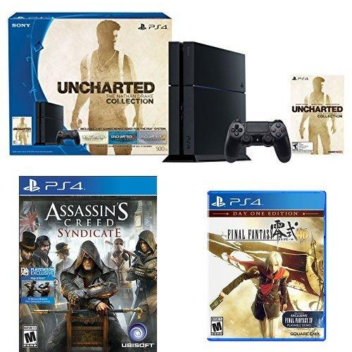 $349.99 500GB PlayStation 4 Console - Uncharted: The Nathan Drake Collection Bundle with Assassin's Creed Syndicate and Final Fantasy Type-0