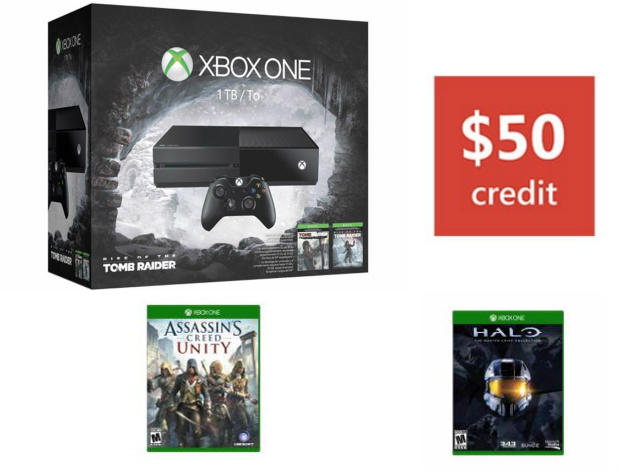 $399.00 Xbox One 1TB Rise Of THe Tomb Bundle + 2 Free Game Bundle + $50 GC
