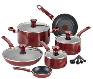 T-fal Excite Nonstick Thermo-Spot Dishwasher Safe Oven Safe PFOA Free Cookware Set, 14-Piece