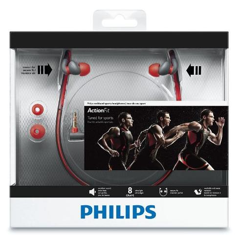 Philips SHQ4200/28 Sports Neck Band Headphones (Orange and Grey)