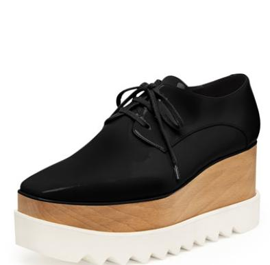 Stella McCartney Faux-Leather Platform Oxford, Black @ Bergdorf Goodman