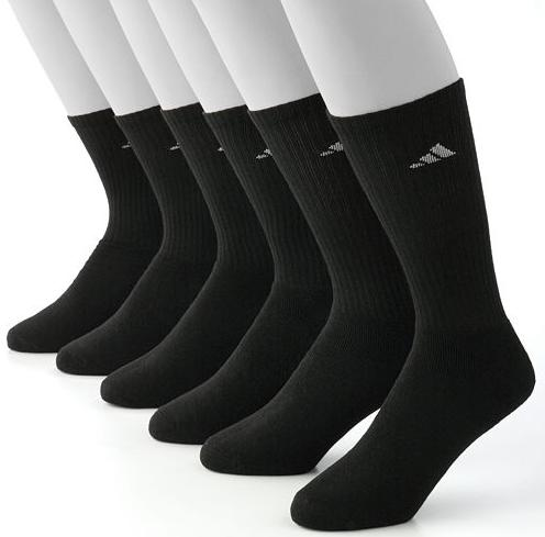 12-Pairs Men's adidas ClimaLite Socks: No-show or Crew (black)