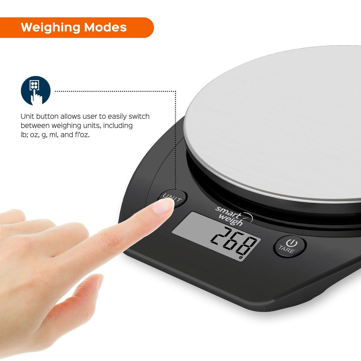 Smart Weigh 11lb/5kg Electronic Multifunction Kitchen and Food Scale, Stainless Steel Platform, Large LCD Screen, Black