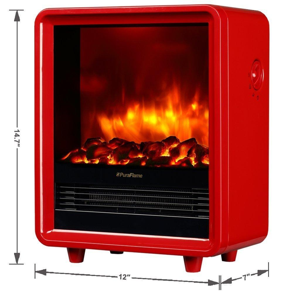 PuraFlame Octavia Red 12 inch Portable electric Heater, Eco Friendly, 1500W