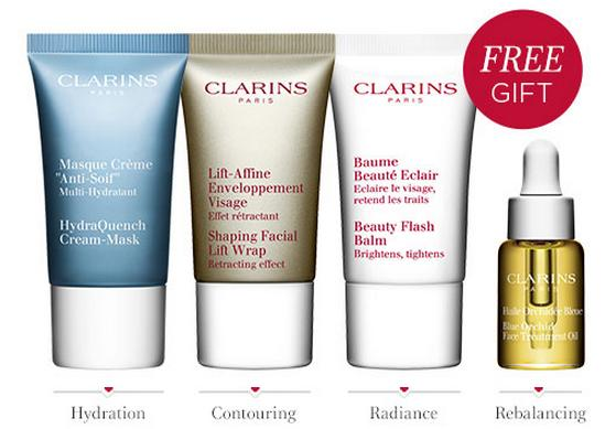Free 4 Pieces Deluxe Gift + 3 Free Samples with any $100 Purchase @ Clarins